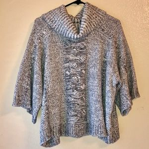 ANTHROPOLOGIE Chunky Cowl Neck 3/4 Sleeve Sweater
